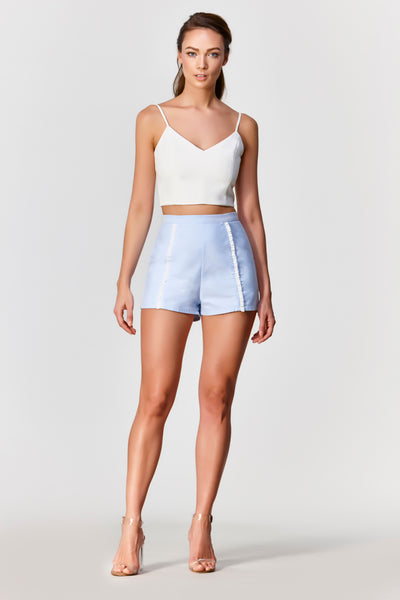 Dawn High Waisted Shorts (Light Blue) - Moxie