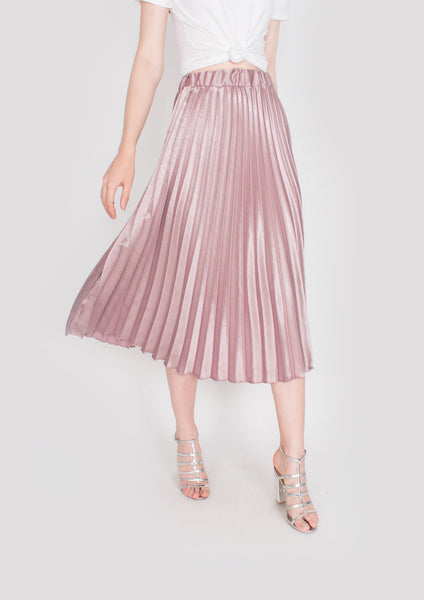 Jeanette Pleated Satin Midi Skirt (Dusty Pink) - Moxie