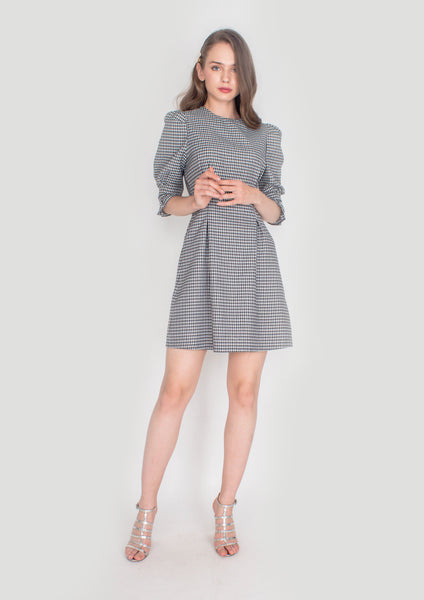 Houndstooth Puffed Sleeve Dress - Moxie