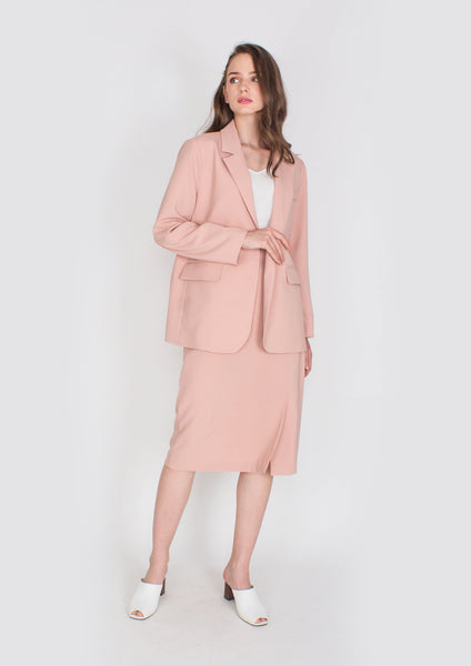 Hepburn Structured Blazer (Dusty Pink)
