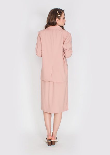 Hepburn Structured Blazer and Skirt Set (Dusty Pink) - Moxie