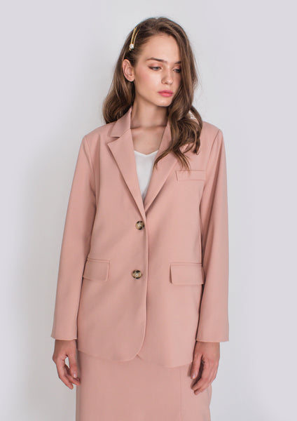 Hepburn Structured Blazer (Dusty Pink) - Moxie