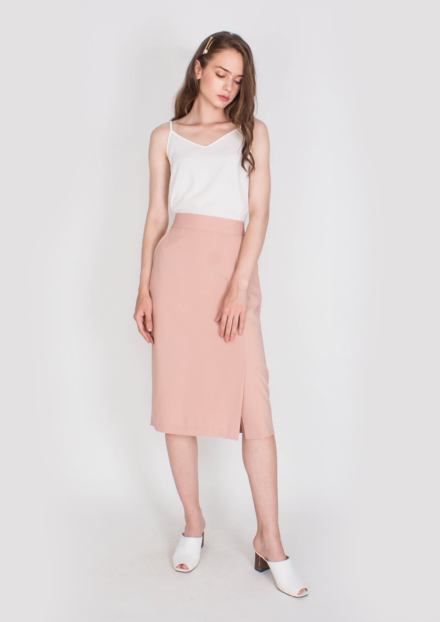 Hepburn Pencil Skirt with Side Slit (Dusty Pink)