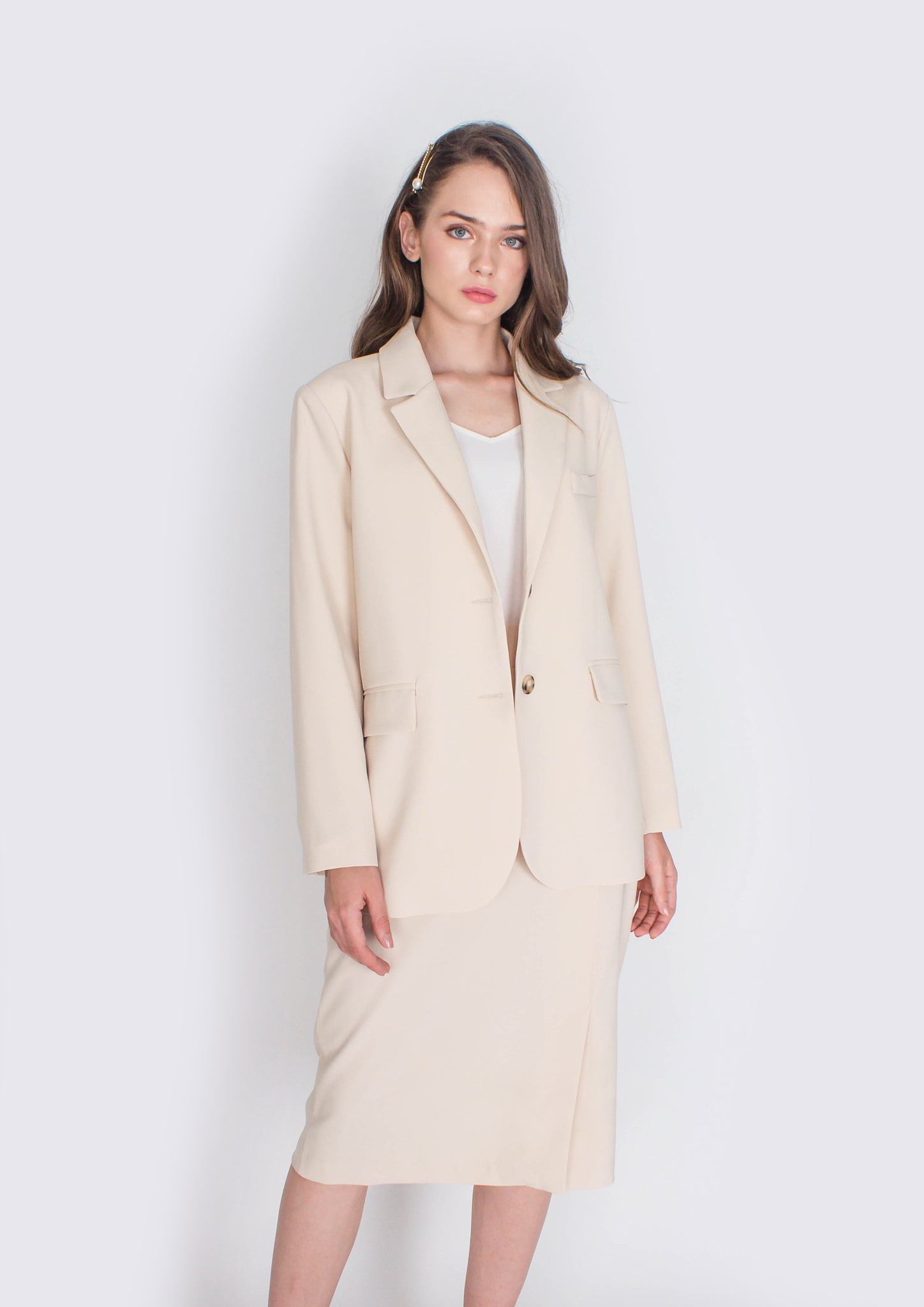 Hepburn Structured Blazer and Skirt Set (Cream) - Moxie