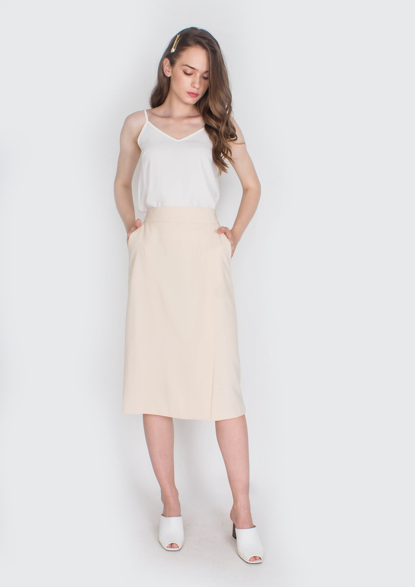 Hepburn Pencil Skirt with Side Slit (Cream) - Moxie