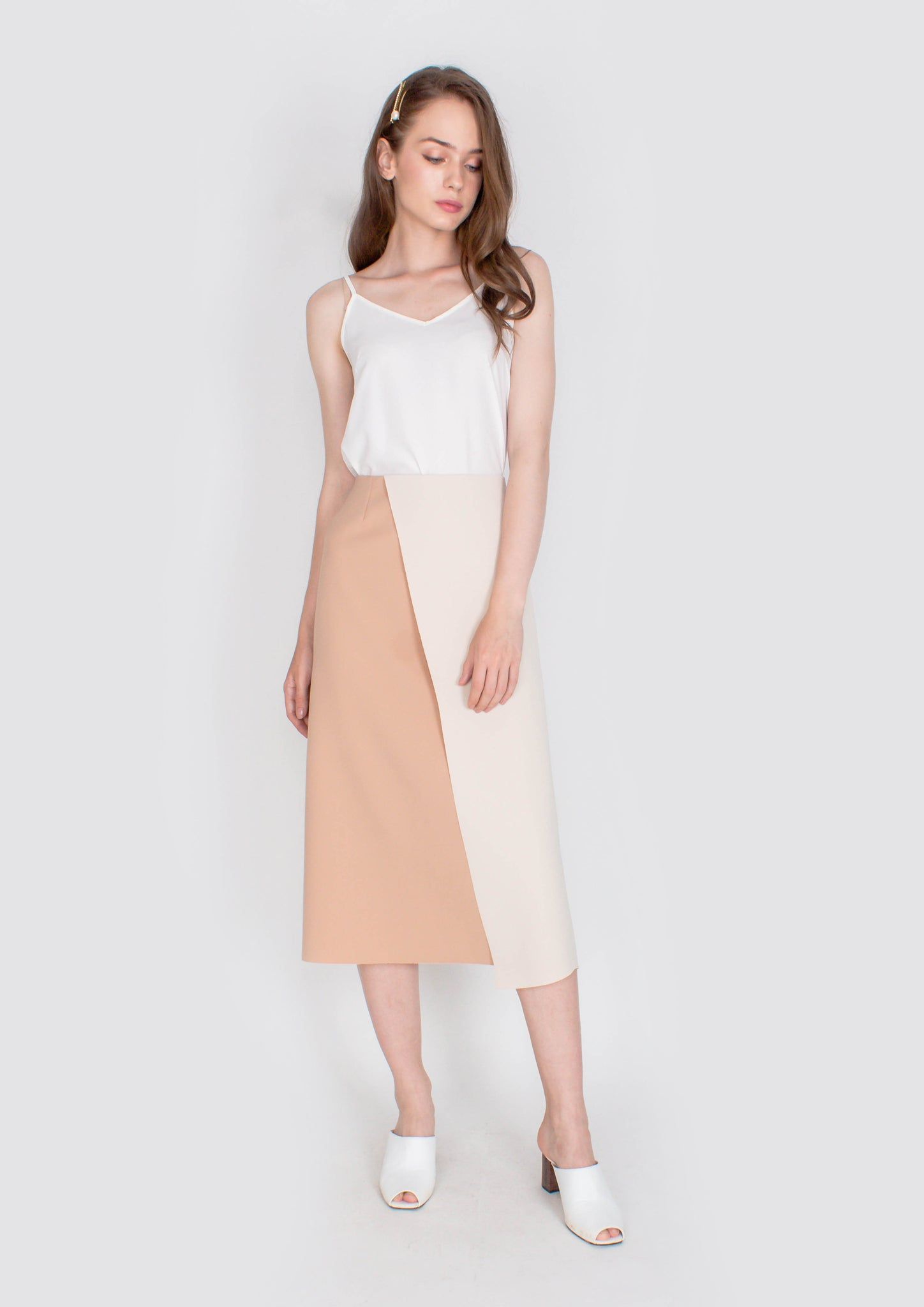Chic Colourblock Midi Skirt (Cream and Caramel) - Moxie