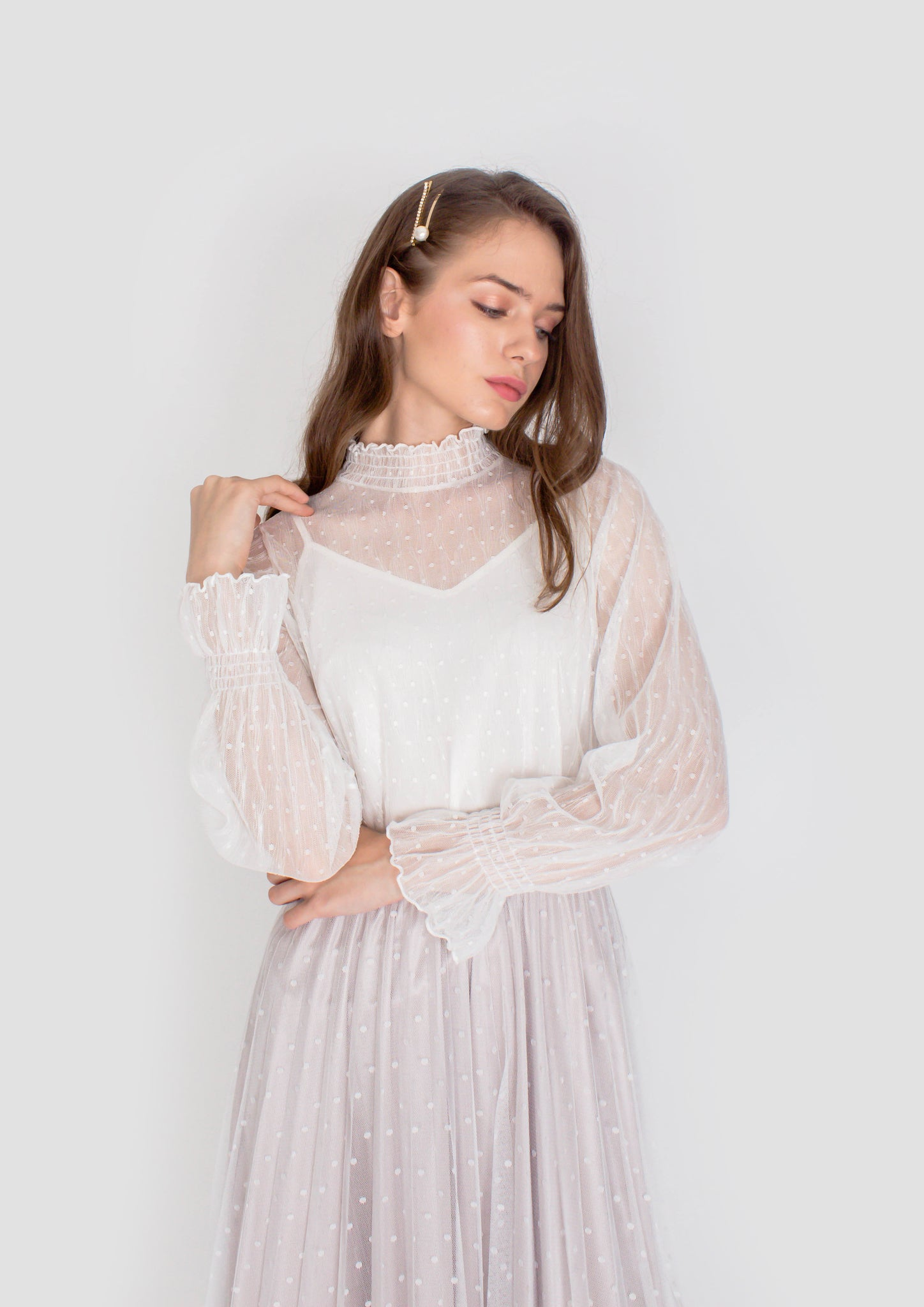 Tulle Dotted Vintage Top (White)