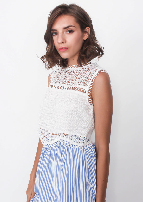 Jasper Lace Trim Cropped Tank (White)