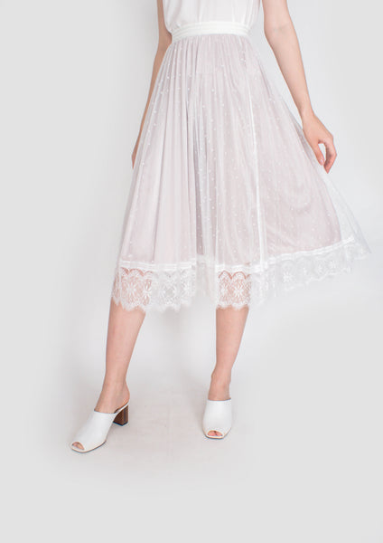 Cara Lace Panel Pleated Midi Skirt  (White) - Moxie