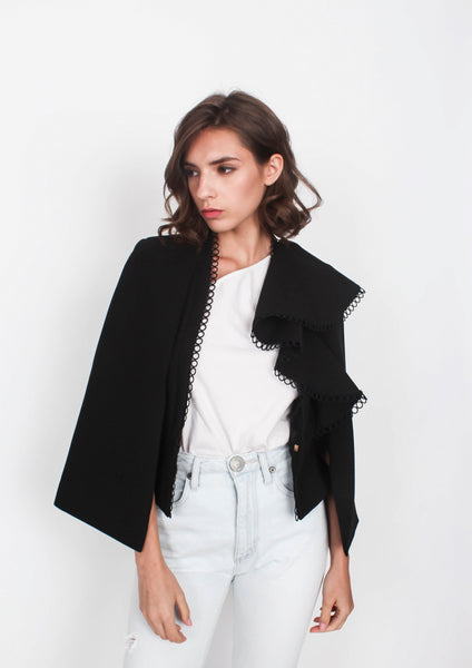 Jasper Ruffled Cape Blazer (Black)