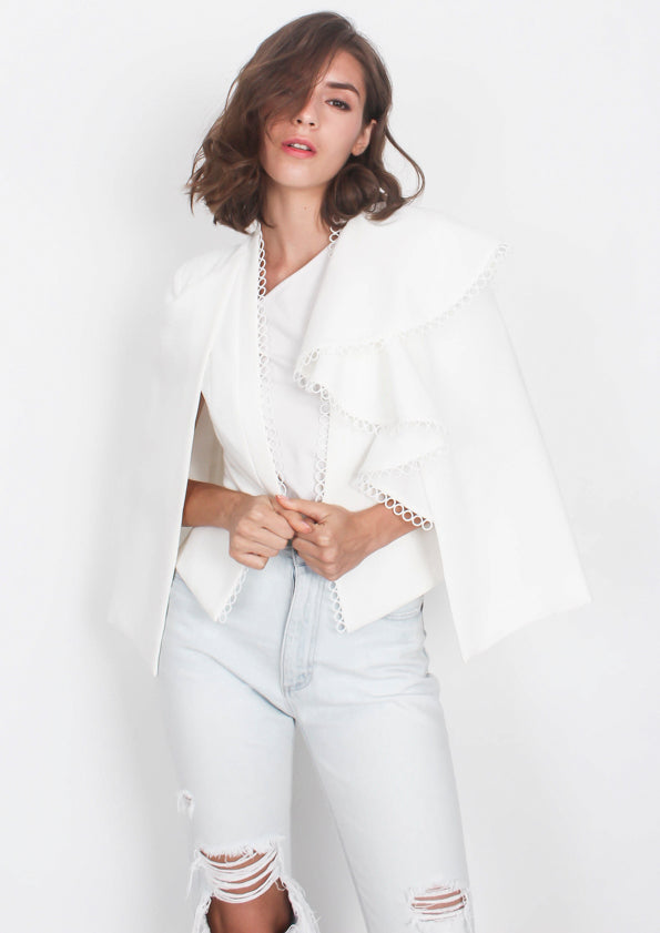 Jasper Ruffled Cape Blazer (White)