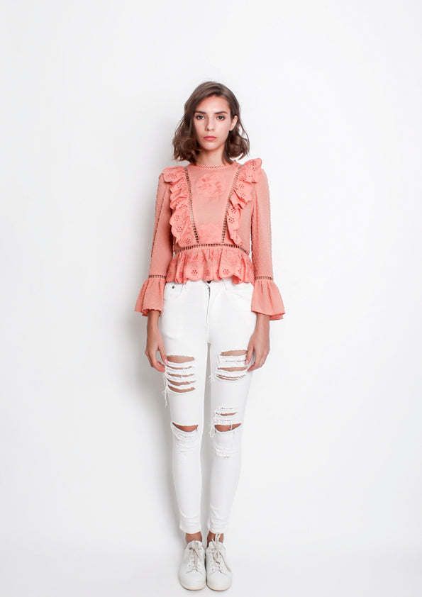 Lola Ruffled Polka Blouse (Dusty Pink)