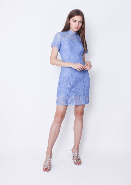 Stacey A Line Lace Dress (Sky Blue)