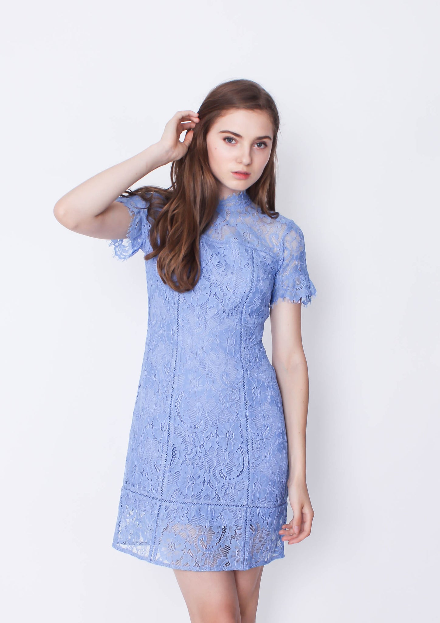 Stacey A Line Lace Dress (Sky Blue) - Moxie