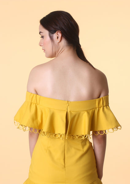 Off-Shoulder Mini Dress (Mustard)