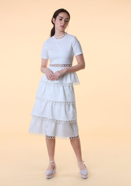 Short Sleeve Tiered Midi Dress (White)