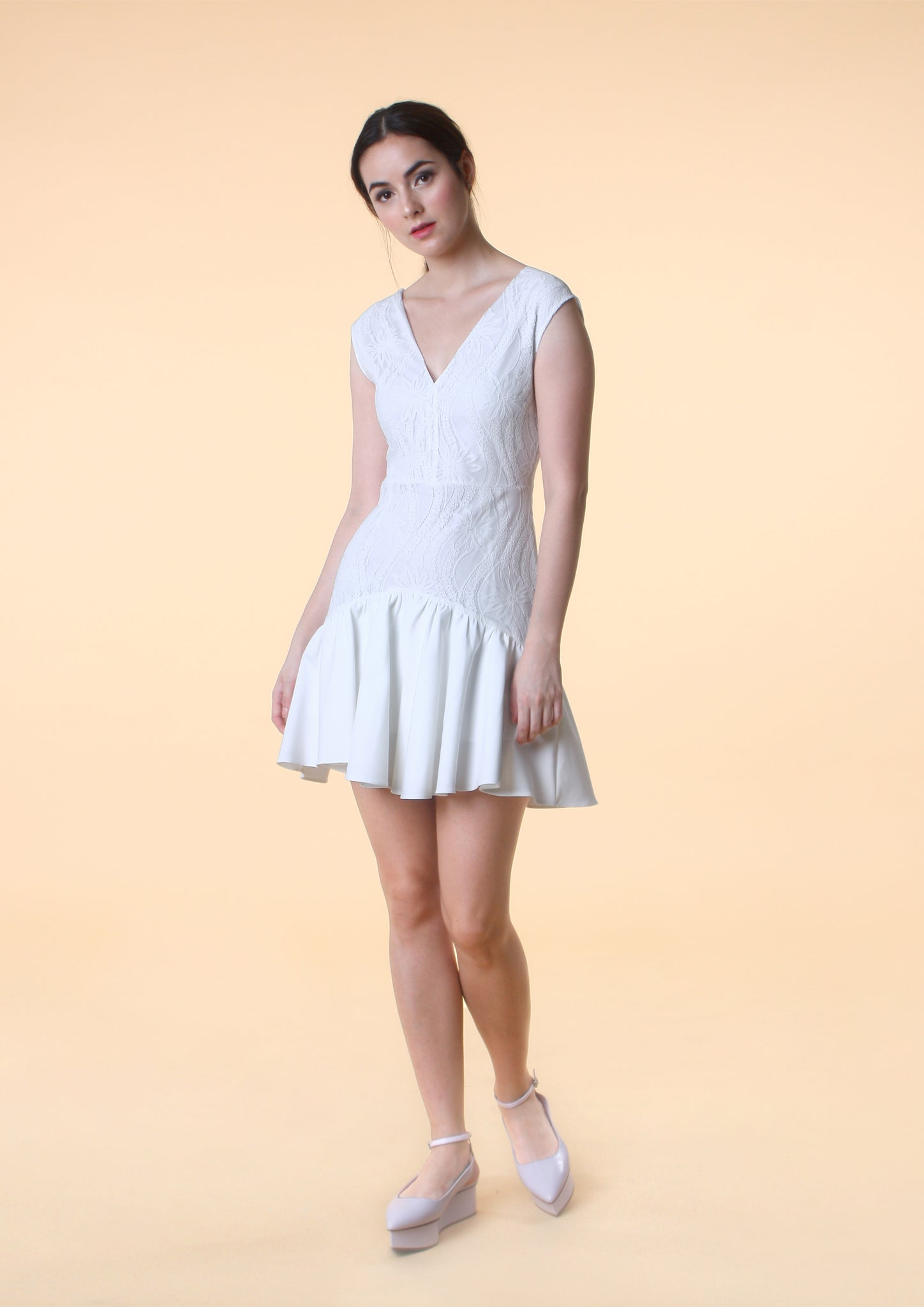 Sleeveless V-Neck Lace Dress (White)