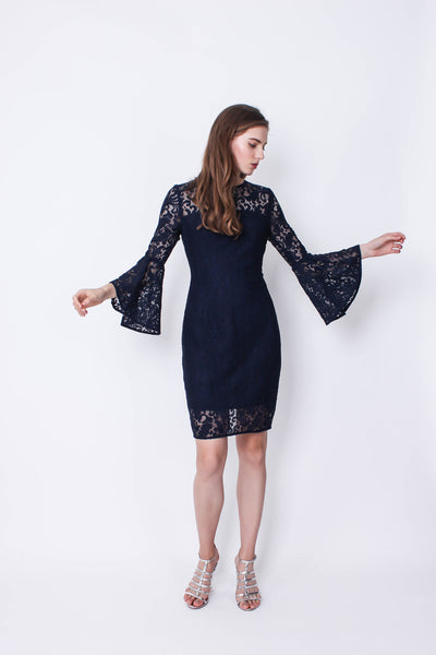 Stacey Bell Sleeve Lace Dress (Navy) - Moxie