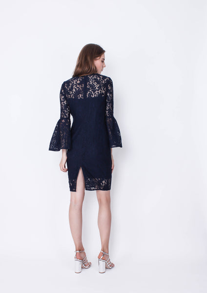 Stacey Bell Sleeve Lace Dress (Navy)