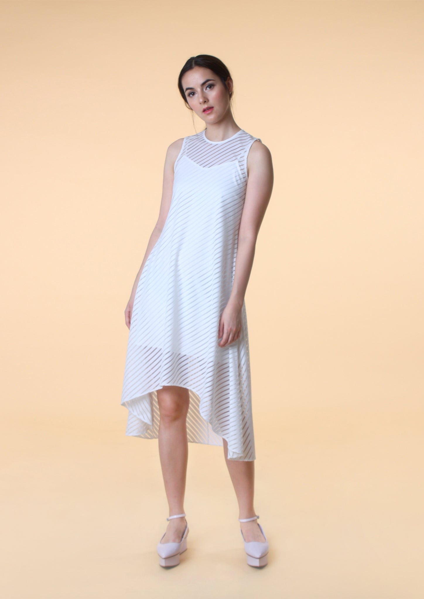 Asymmetrical Hem Stripe Dress (White)