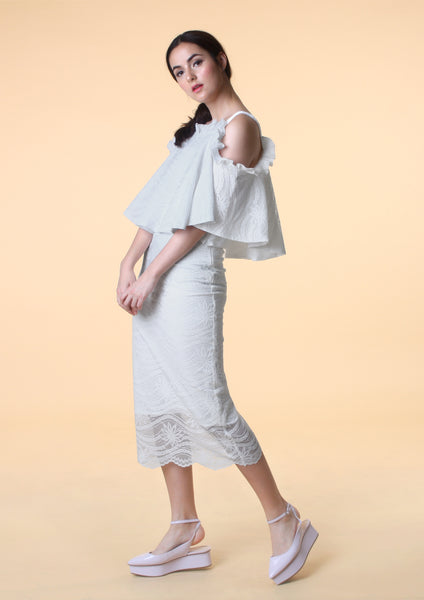 Straight Cut Lace Midi Skirt (White)