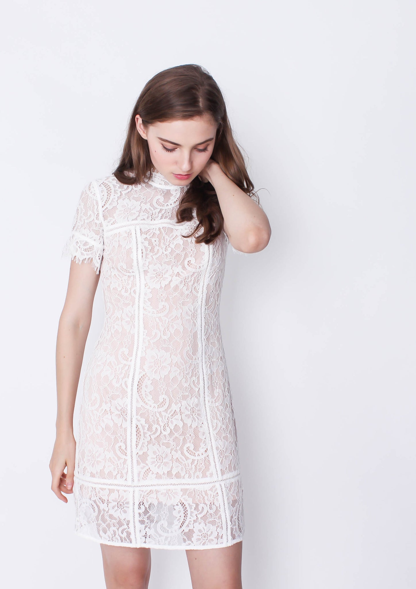 Stacey A Line Lace Dress (White) - Moxie