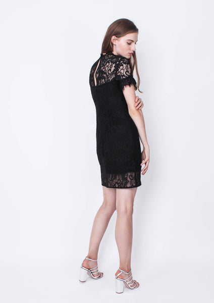 Stacey A Line Lace Dress (Black)