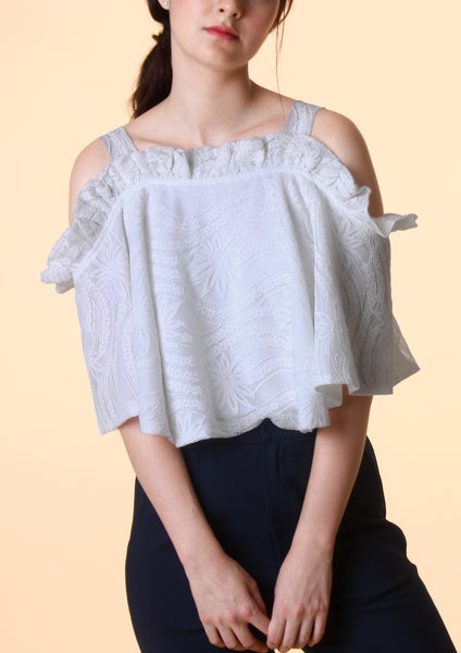 Ruffled Lace Crop Top - Moxie