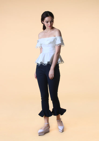 Off-Shoulder Peplum Top (White)