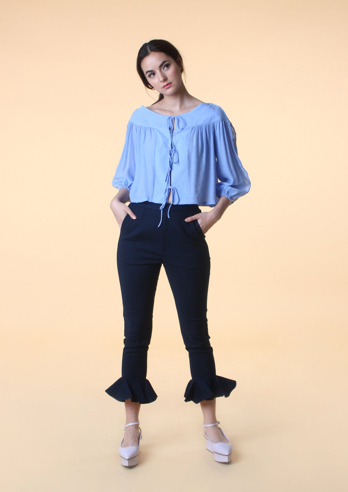 Ribbon Tie Crop Blouse (Blue)