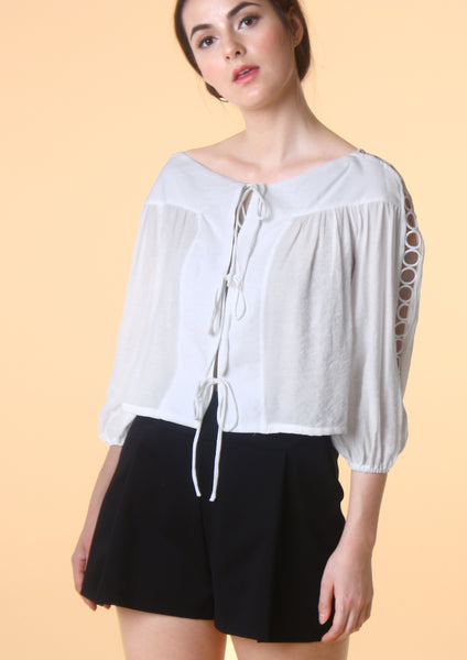 Ribbon Tie Crop Blouse (White)