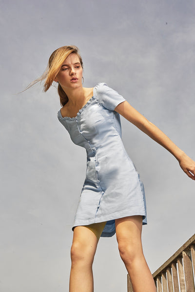 Cadence Mini Dress (Sky Blue) - Moxie