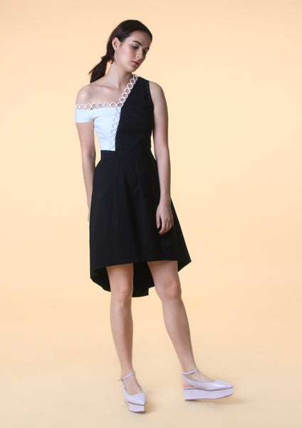 Asymmetrical Hem Colourblock Dress - Moxie