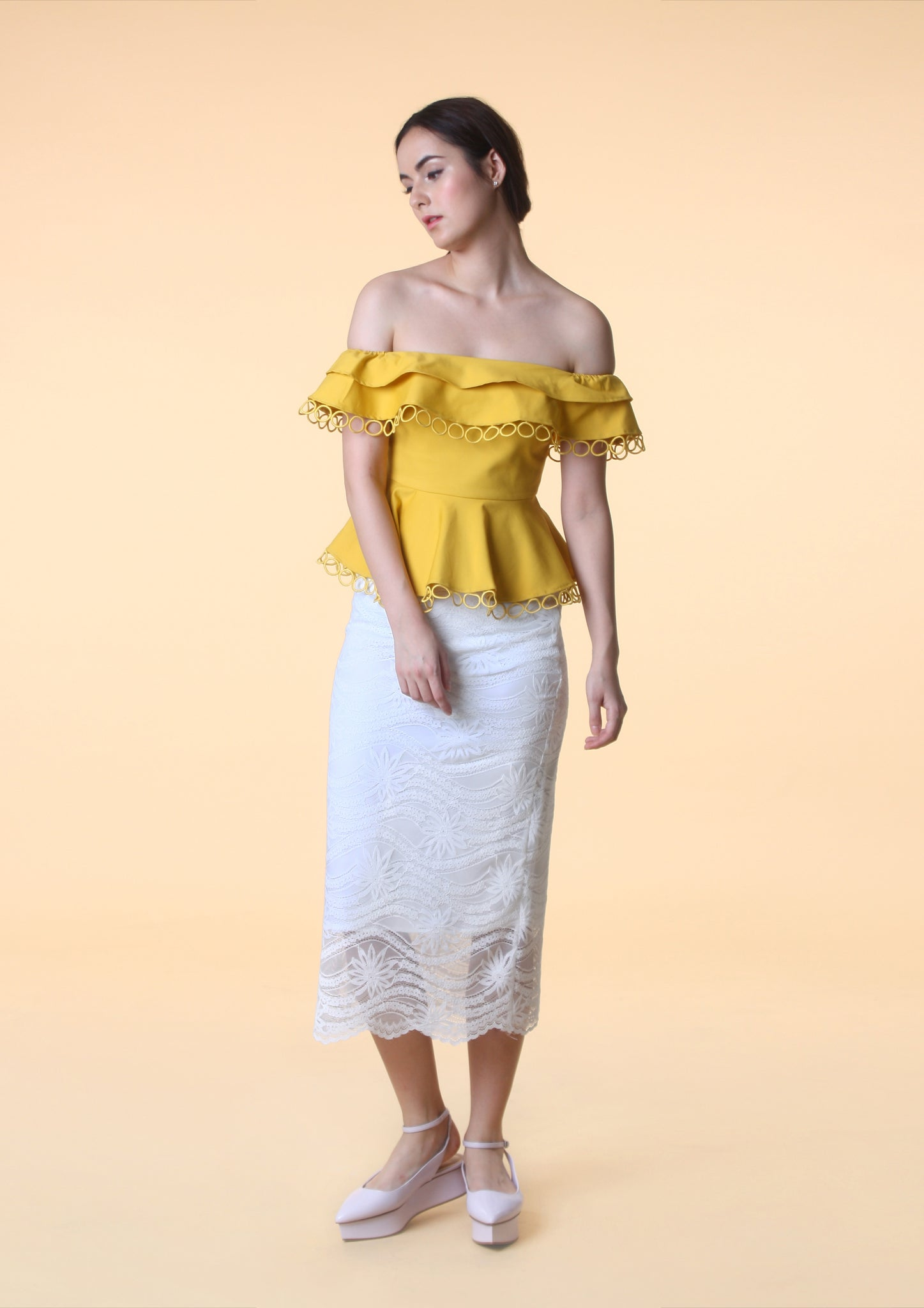 Off-Shoulder Peplum Top (Mustard)