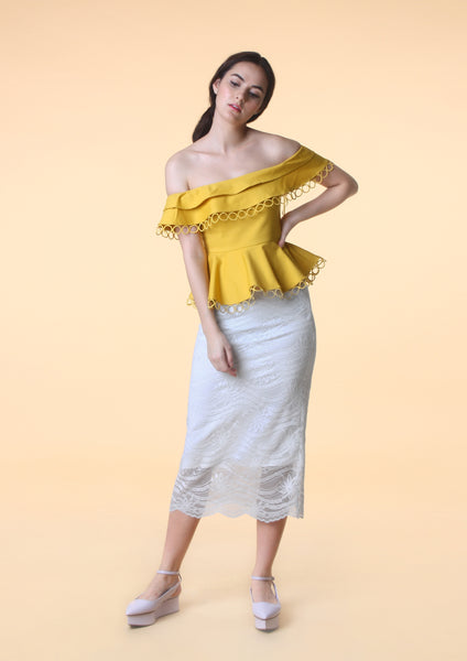 Off-Shoulder Peplum Top (Mustard) - Moxie
