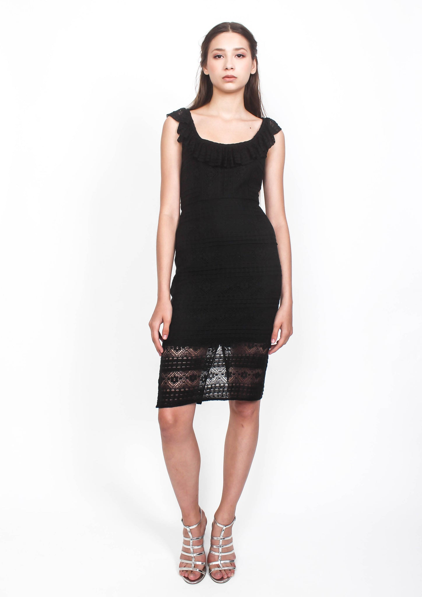 Alyssa Layered Lace Scoop Neck Dress (Black) - Moxie