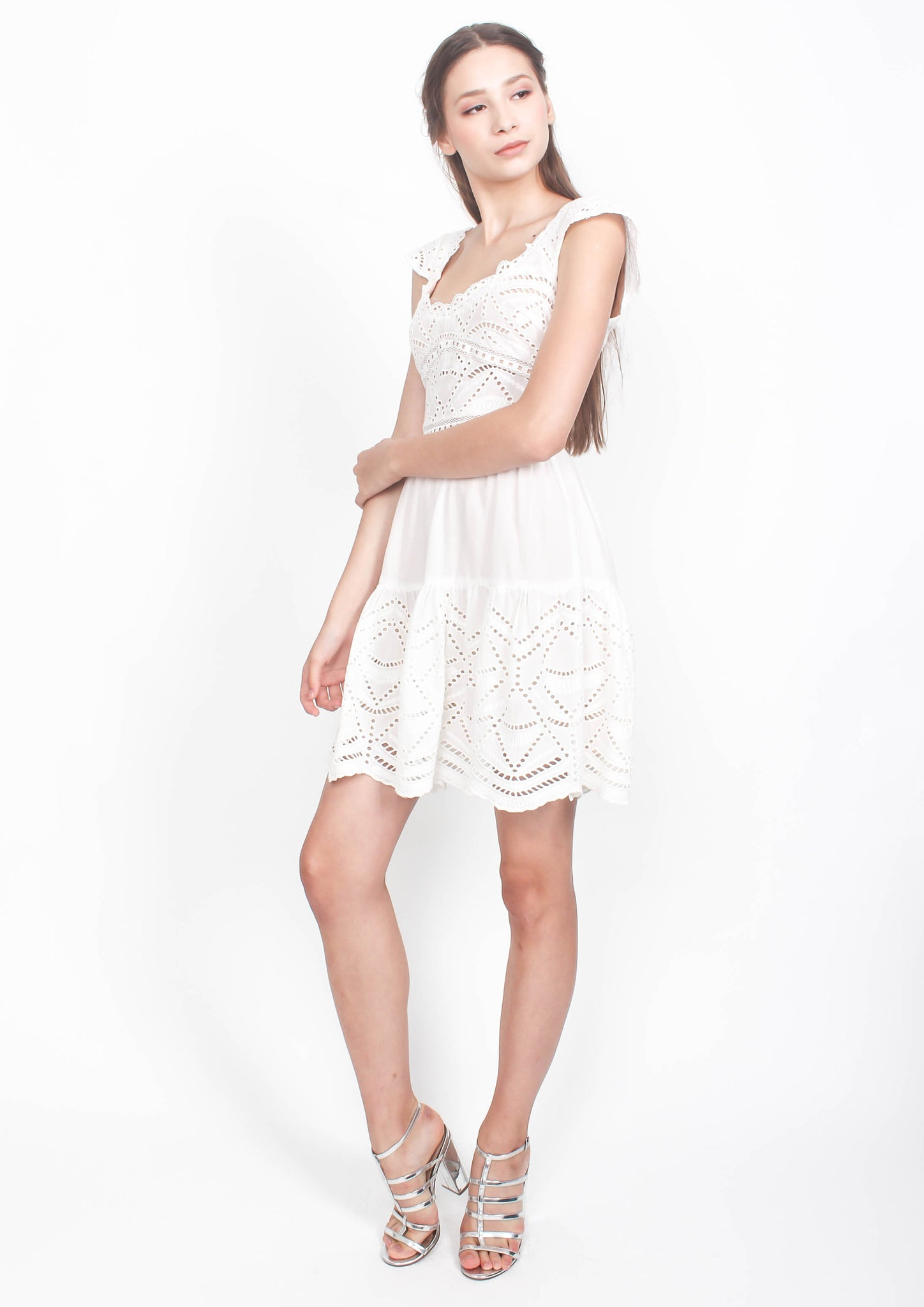 Zia Broderie Angel Sleeve Dress (White)