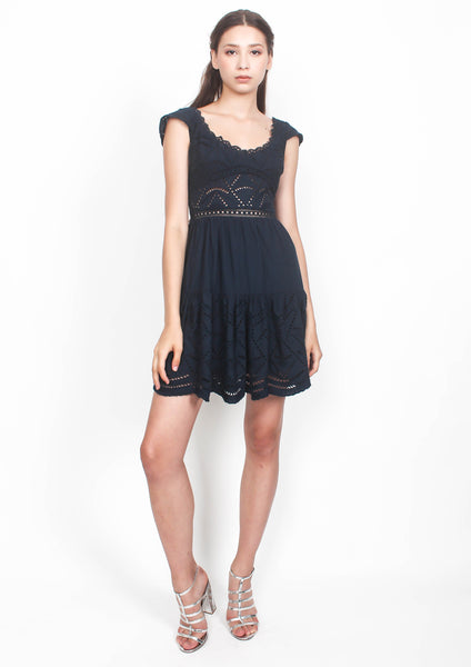 Zia Broderie Angel Sleeve Dress (Navy) - Moxie