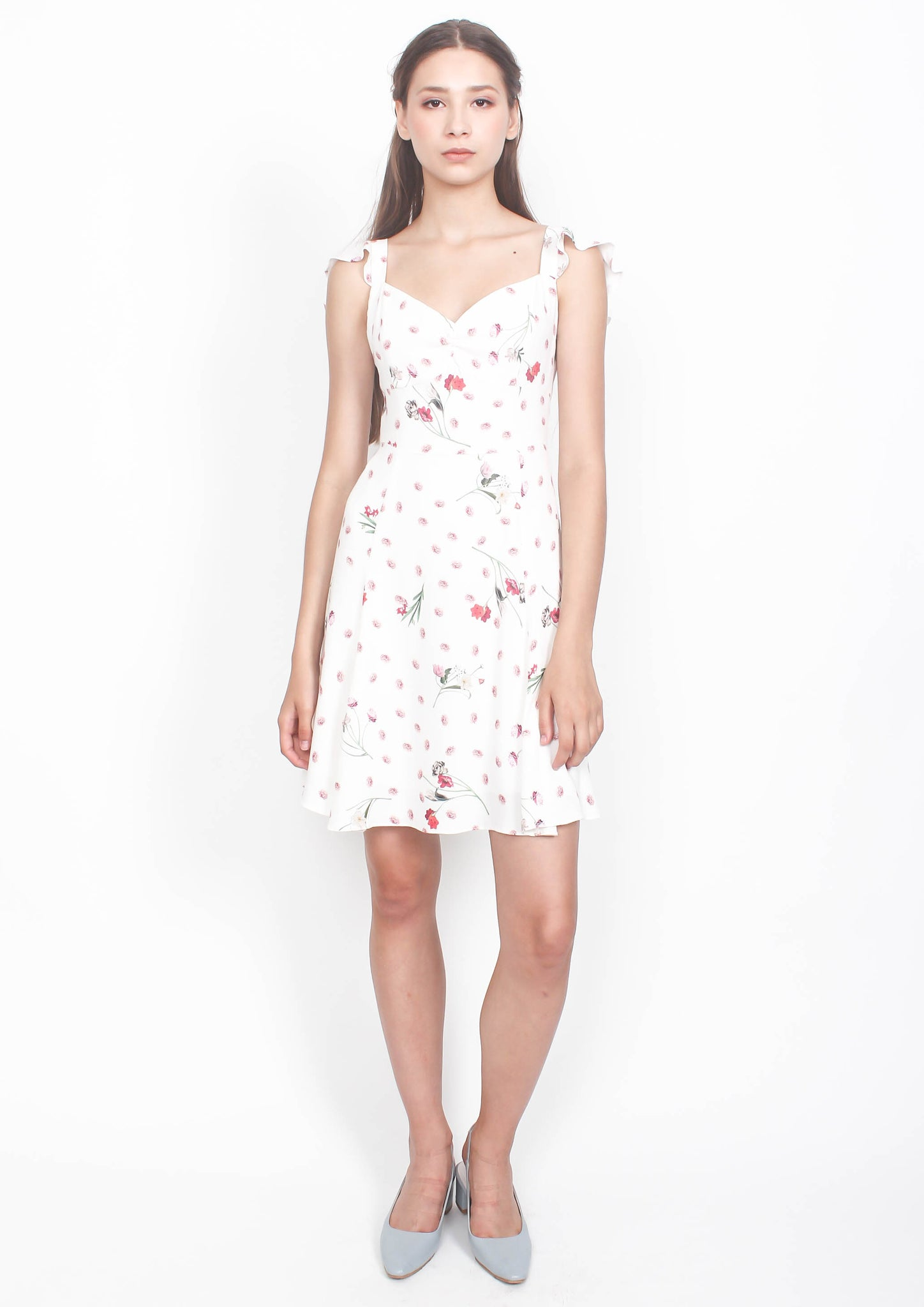 Sydney Tie Back Mini Dress (White Floral) - Moxie
