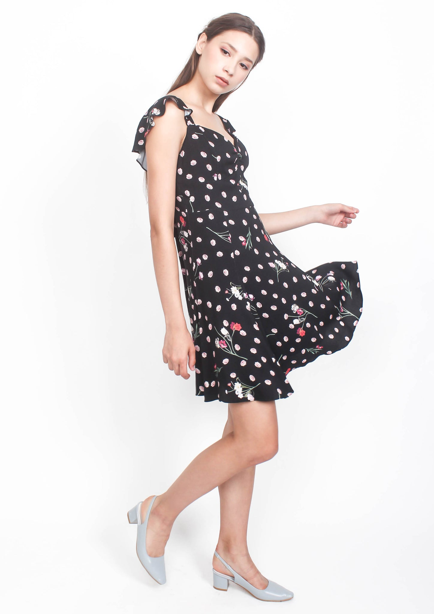 Sydney Tie Back Mini Dress (Black Floral)