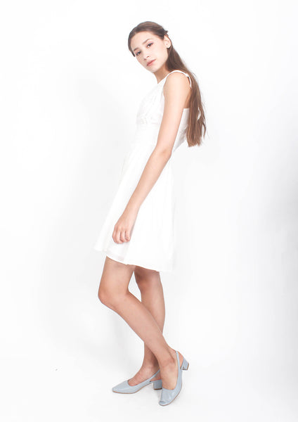 Zia Broderie Babydoll Dress (White)