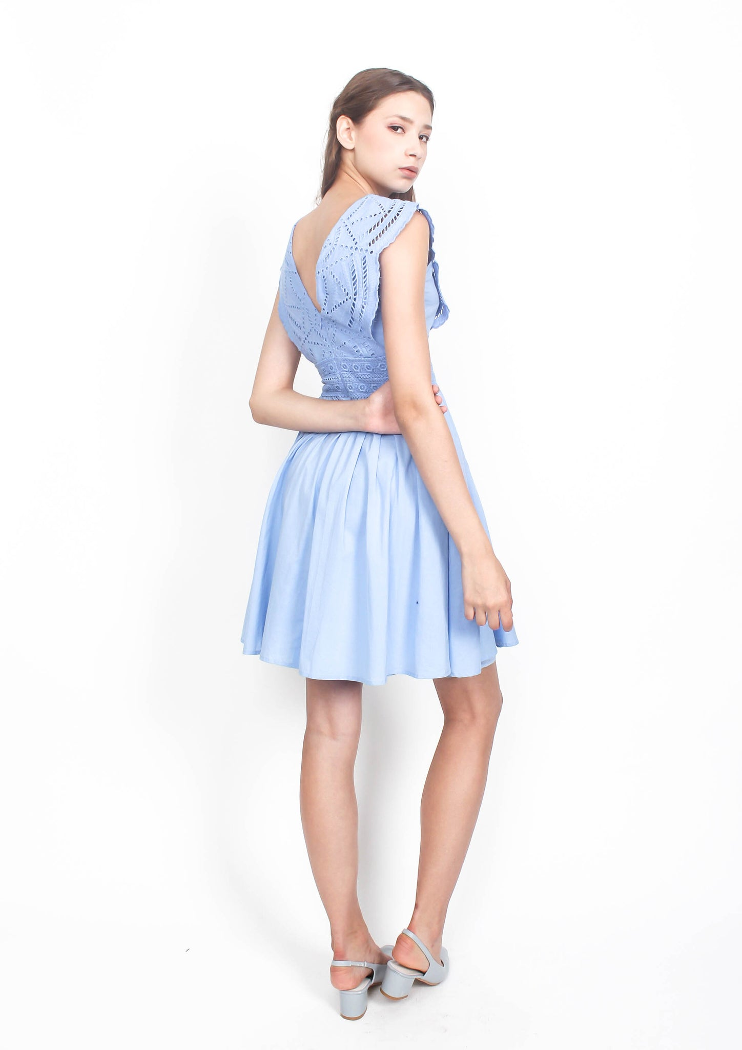 Zia Broderie Babydoll Dress (Blue)