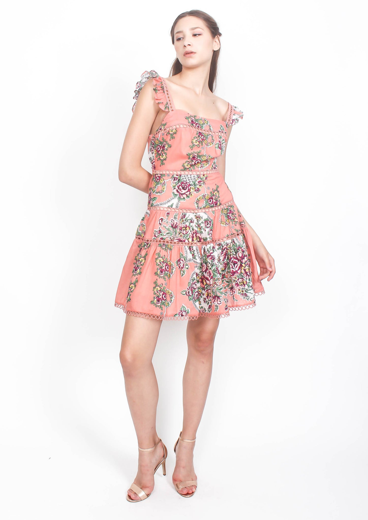 Naomi Print Flutter Sleeve Dress (Pink)