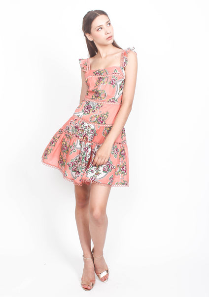 Naomi Print Flutter Sleeve Dress (Pink) - Moxie