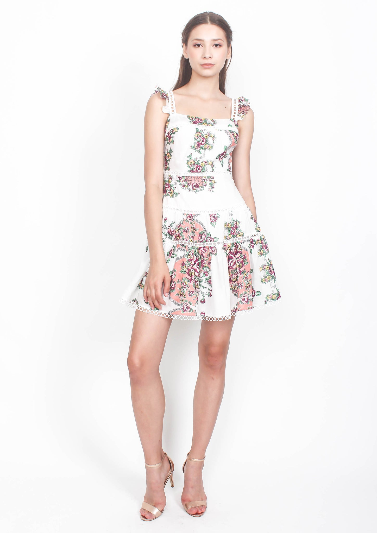 Naomi Print Flutter Sleeve Dress (White)