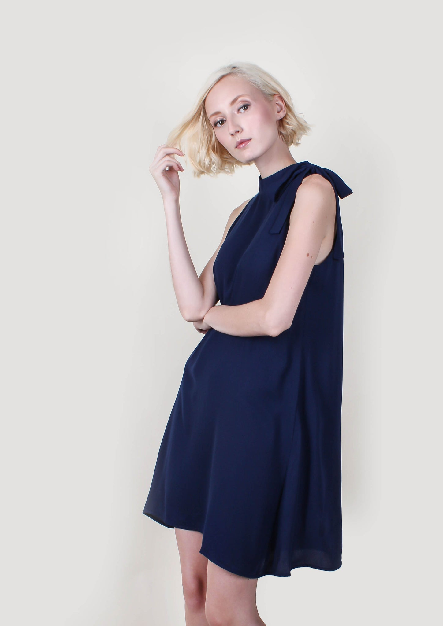 Crepe Halter Dress (Navy)