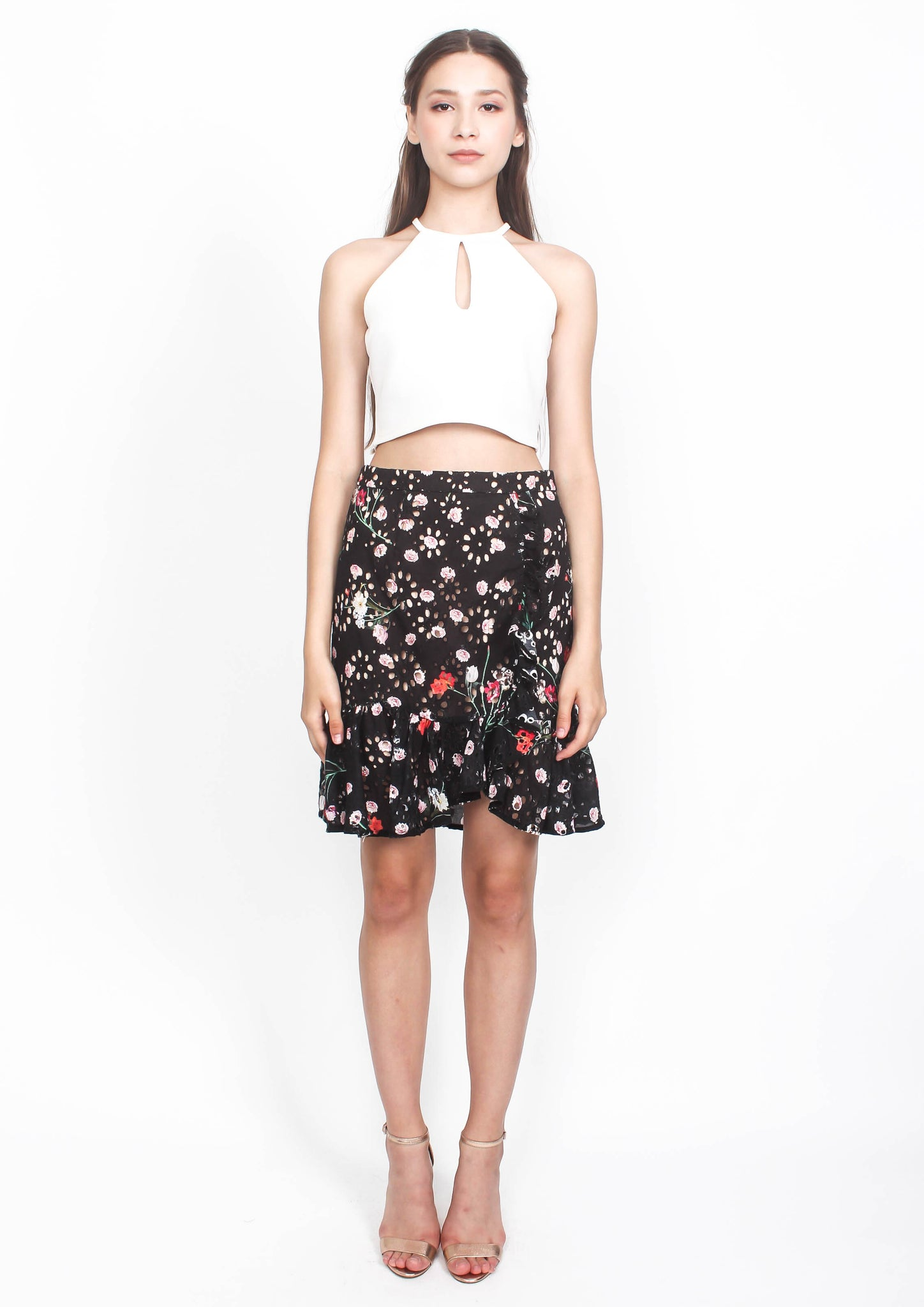 Sydney Broderie Ruffled Skirt (Black)