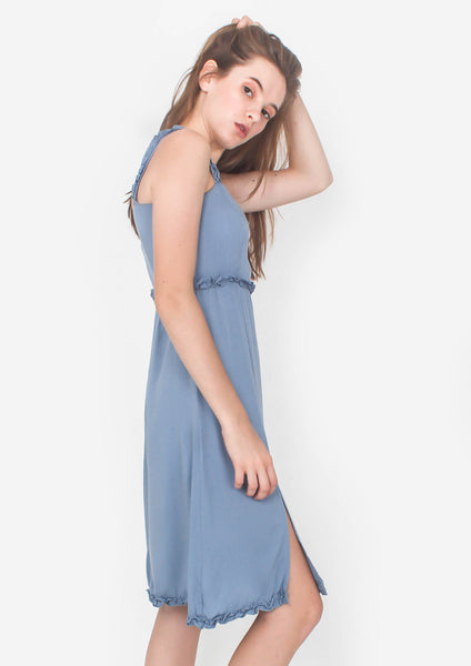 Chrysalis Midi Dress (Dusty Blue) - Moxie
