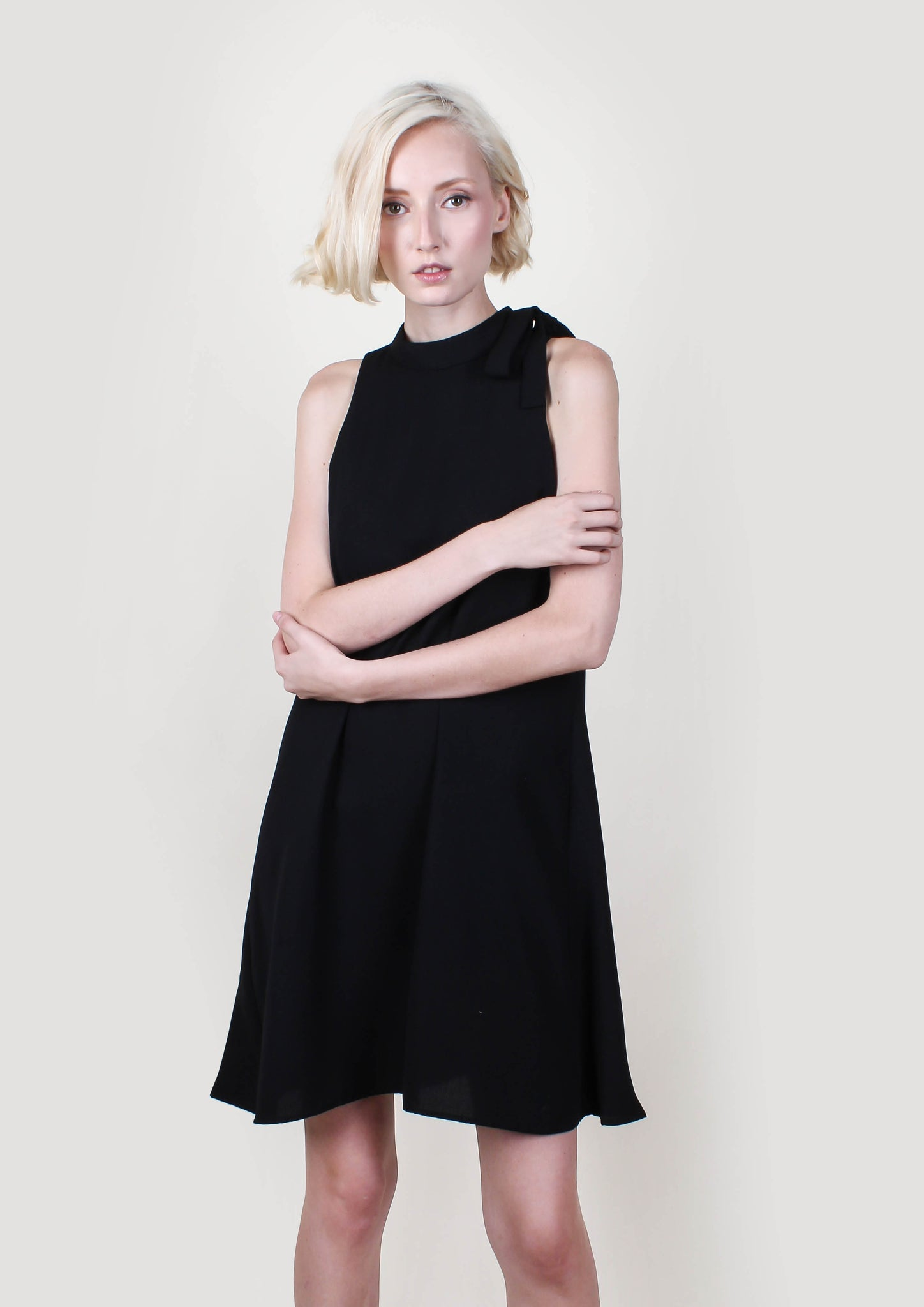 Crepe Halter Dress (Black) - Moxie