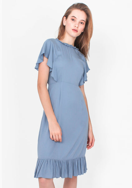 7f6569bf7e93 Flutter Midi Dress (Dusty Blue) – Moxie